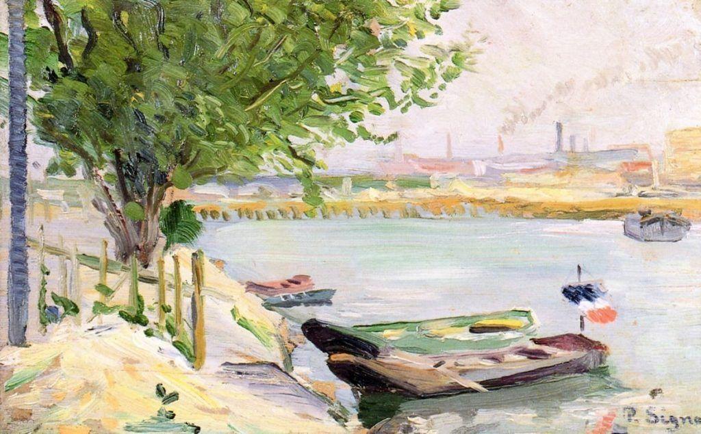 Paul Signac, Asnières (Die Fähre), um 1882, 14,3 x 23,2 cm (Privatsammlung)