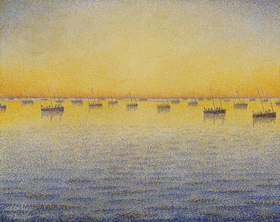 "Paul Signac, Concarneau, Sonnenuntergang, Sardinenfischen, Opus 221 (Adagio), aus der Serie ""Das Meer, die Boote, Concarneau"", 1891, 65 x 81 cm (The Museum of Modern Art, New York, Mrs. John Hay Whitney Bequest)"