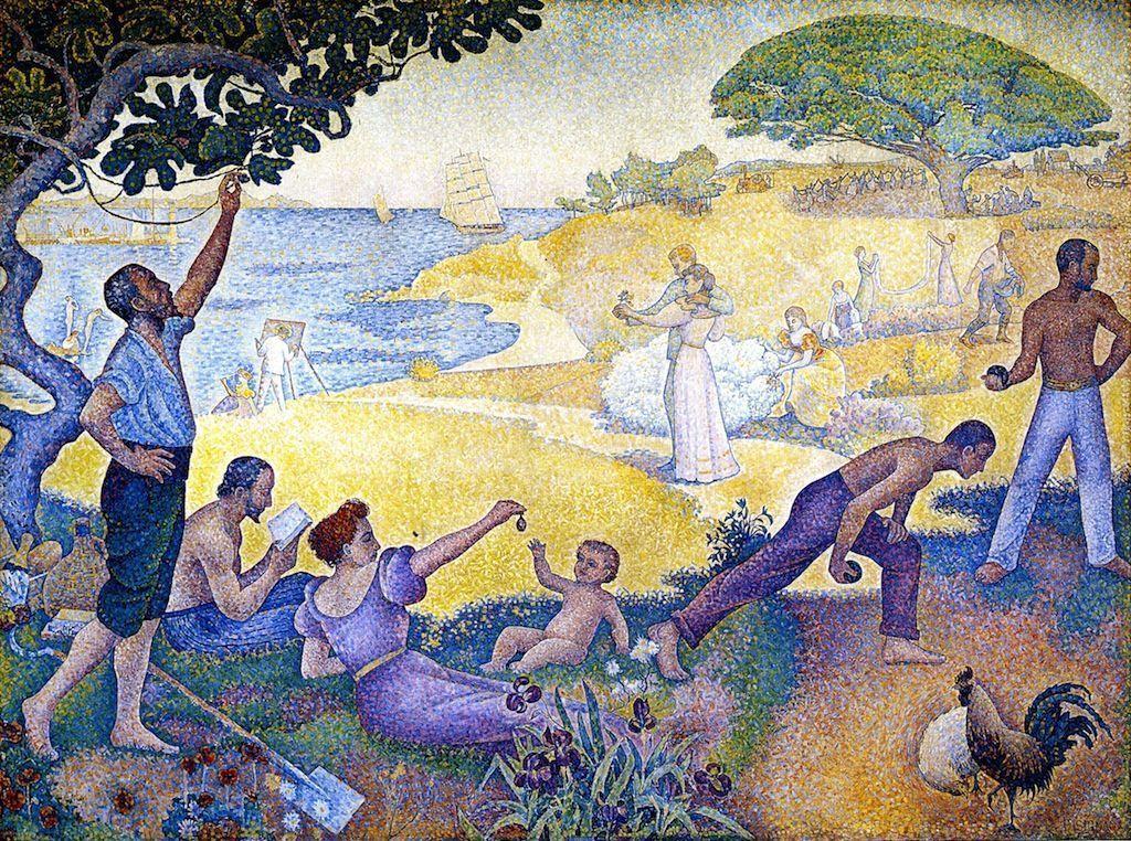 Paul Signac, Zeitalter der Harmonie, 1893–1895, Öl auf Leinwand, 312 × 410 cm (Mairie de Montreuil, Paris)