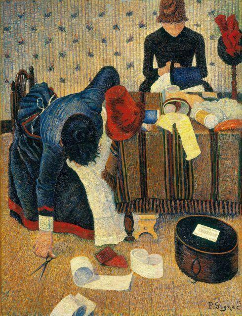 Paul Signac, Les Modistes (Die Hutmacherinnen), 1885/86, Öl auf Leinwand, 116 x 89 cm (Stiftung Sammlung E.G. Bührle, Zürich)