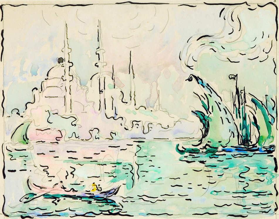 Paul Signac, Konstantinopel. Yeni Djami, um 1909, Aquarell, Bleistift und Tusche, 20,8 x 25,7 cm (Privatsammlung)