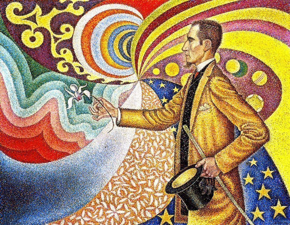 Paul Signac, Porträt des Félix Fénéon, Opus 217, 1890/1891, Öl auf Leinwand, 73,5 × 92,5 cm (The Museum of Modern Art, Teilschenkung von Mr. und Mrs. David Rockefeller)