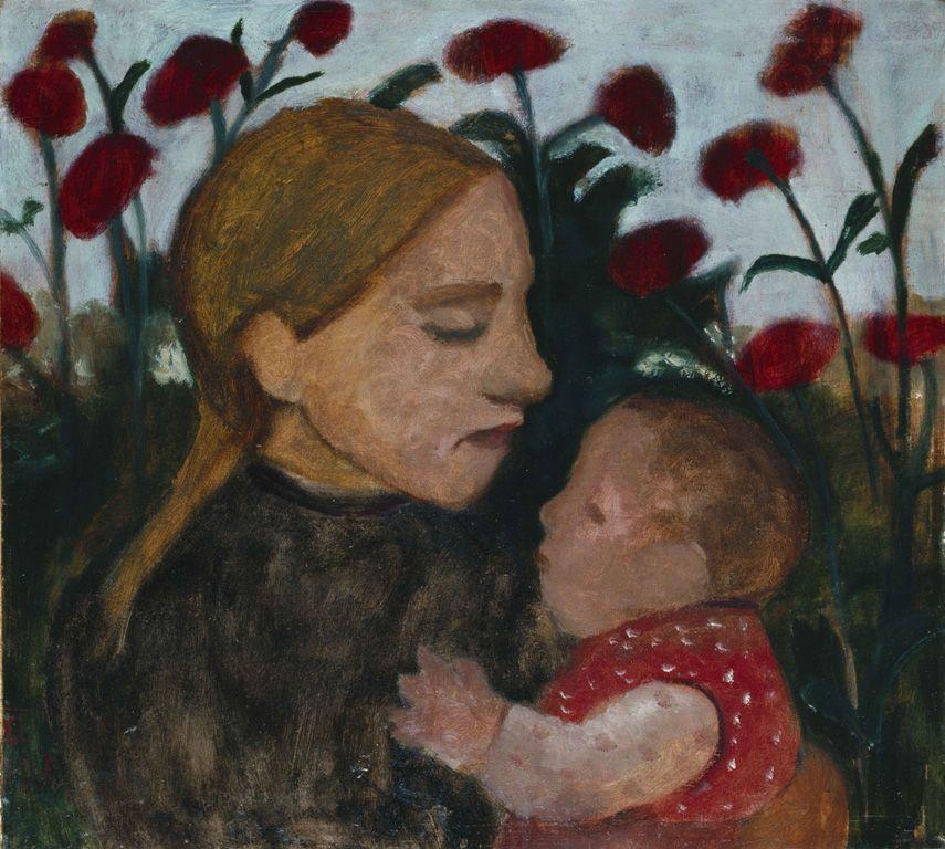Paula Modersohn-Becker, Mädchen mit Kind vor roten Blumen, 1902, Öl auf Pappe auf Holz, 45,3x50,5 cm © Sammlung Gemeentemuseum Den Haag, Niederlande.