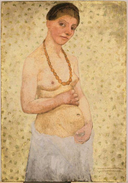 Paula Modersohn-Becker: Selbstbildnis am 6. Hochzeitstag, 1906, Öl auf Pappe, 101,8x70,2 cm © Kunstsammlungen Böttgerstraße, Paula Modersohn-Becker Museum, Bremen 2010.