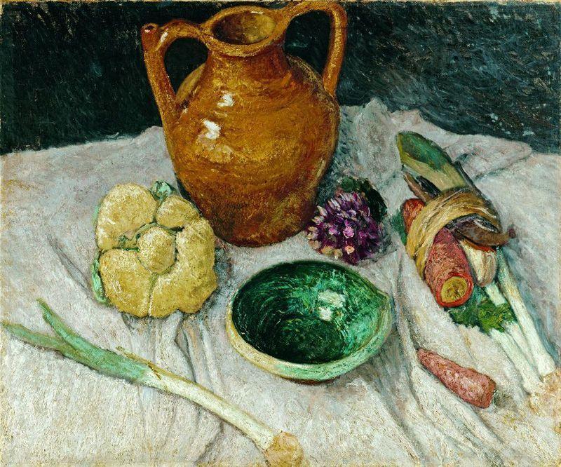 Paula Modersohn-Becker, Stillleben mit Gemüse und irdenem Geschirr, Öl auf Leinwand, 59,2x71,3 cm © Niedersächsisches Landesmuseum Hannover.