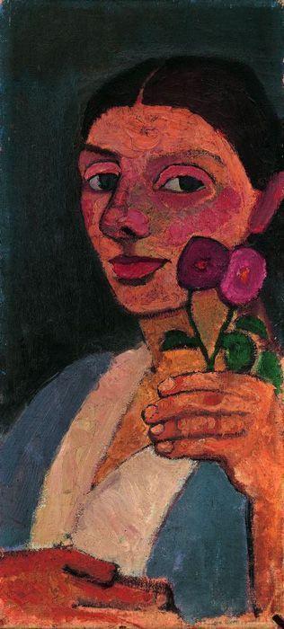 Paula Modersohn-Becker, Selbstbildnis mit zwei Blumen in der erhobenen linken Hand, Öl auf Leinwand, 55 x 25 cm © Privatsammlung Zürich, 2010.