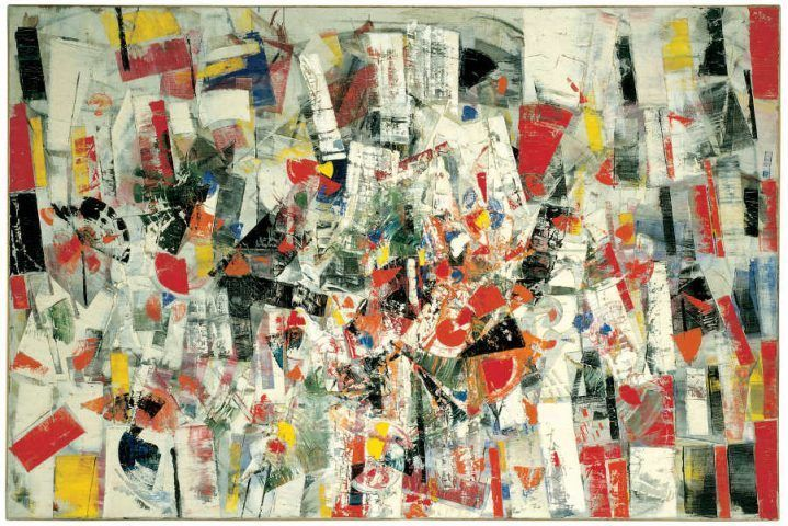 Tancredi Parmeggiani (Feltre 1927–Rome 1964), Composition, 1955, Öl and Tempera auf Leinwand, 129.5 x 181 cm (Venedig, Peggy Guggenheim Collection, 76.2553)
