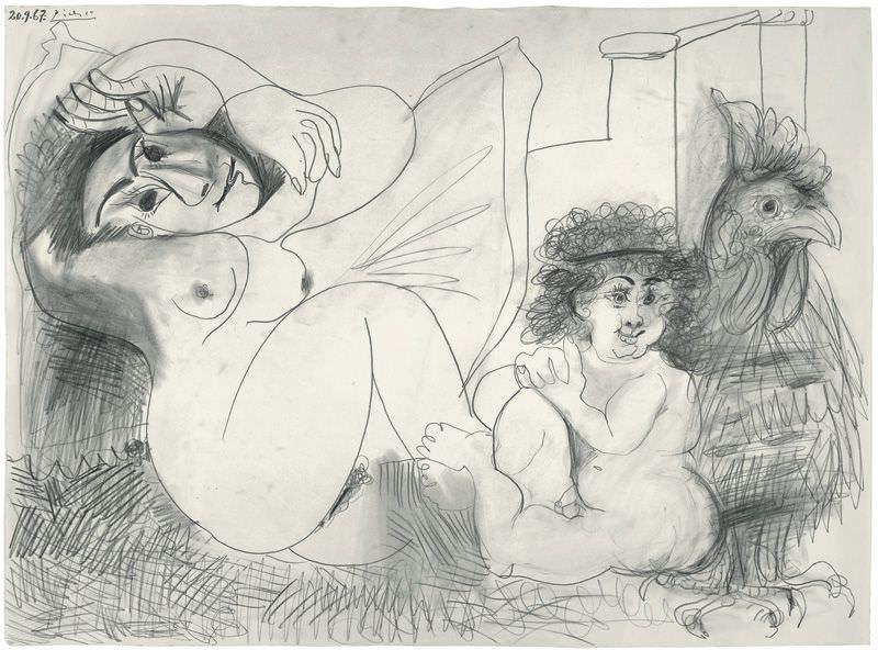 Pablo Picasso, Weiblicher Akt mit Putto und Hahn, 20. September 1967, Bleistift, 56 x 76 cm © Succession Picasso/VBK, Wien, 2006, Staatsgalerie Stuttgart, Graphische Sammlung.