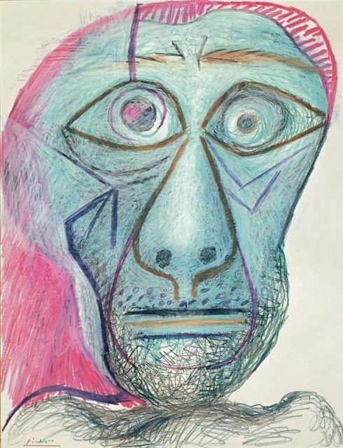Pablo Picasso, Kopf (Selbstporträt), 30. Juni 1972, Schwarze und farbige Kreiden, auf Papier, 65,7 x 50,5 cm © Succession Picasso/VBK, Wien, 2006, Privatsammlung, Courtesy Fuji Television Gallery.
