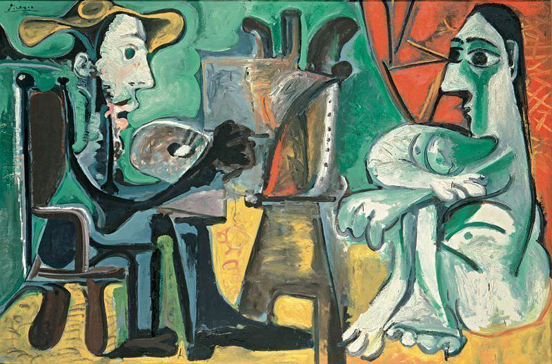 Pablo Picasso, Der Maler und sein Modell, 3./8. April 1963, Öl auf Leinwand, 130 x 195 cm © Succession Picasso/VBK, Wien, 2006, Museo Nacional Centro de Arte Reina Sofía, Madrid, Foto: Archivo Fotográfico Museo Nacional Centro de Arte Reina Sofia, Madrid.