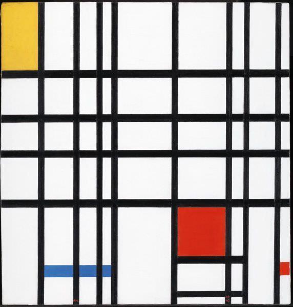 Piet Mondrian, Komposition mit Gelb, Blau und Rot, 1937-1942, Öl auf Leinwand, 72.7 x 69.2 cm, Tate, London, Ankauf 1964, Photo: Kunstmuseum Basel, Martin P. Bühler ©2013 Mondrian/Holtzman Trust c/o HCR International USA.