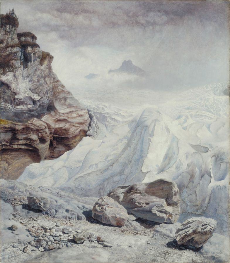 John Brett, Glacier at Rosenlaui, 1856, oil on canvas, 44.5 x 41.9 cm (17 1/2 x 16 1/2 in.), Tate. Purchased 1946.