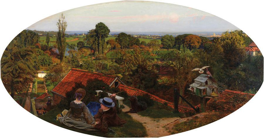 Ford Madox Brown, An English Autumn Afternoon, Hampstead – Scenery in 1853, 1854, oil on canvas, overall (oval): 71.8 x 134.6 cm (28 1/4 x 53 in.)framed: 110.5 x 173.5 x 12 cm (43 1/2 x 68 5/16 x 4 3/4 in.), Birmingham Museums and Art Gallery, Presented by the Public Picture Gallery Fund, 1916.
