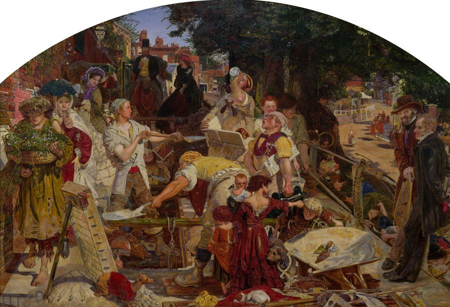 Ford Madox Brown, Work, 1863, oil on canvas, 68.4 x 99 cm (26 15/16 x 39 in.)framed: 99.5 x 130 x 9.5 cm (39 3/16 x 51 3/16 x 3 3/4 in.), Birmingham Museums and Art Gallery. Bequeathed by James Richardson Holliday, 1927.