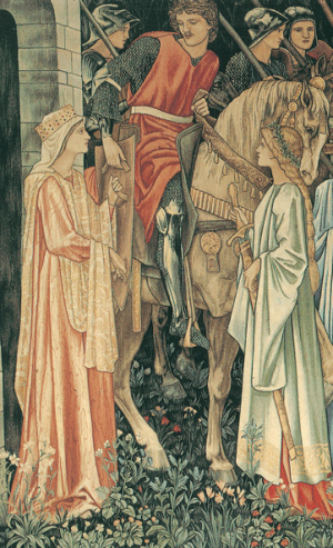 Sir Edward Coley Burne-Jones, William Morris und John Henry Dearle, The Arming and Departure of the Knights of the Round Table on the Quest for the Holy Grail, 1890-1894, tapestry woven in wool and silk on a cotton warp, 240 x 347 cm (94 1/2 x 136 5/8 in.), Collection of Jimmy Page, courtesy of Paul Reeves London.