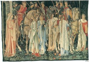 Designed by Sir Edward Coley Burne-Jones, William Morris, and John Henry Dearle, The Arming and Departure of the Knights of the Round Table on the Quest for the Holy Grail, 1890-1894, tapestry woven in wool and silk on a cotton warp, 240 x 347 cm (94 1/2 x 136 5/8 in.), Collection of Jimmy Page, courtesy of Paul Reeves London.