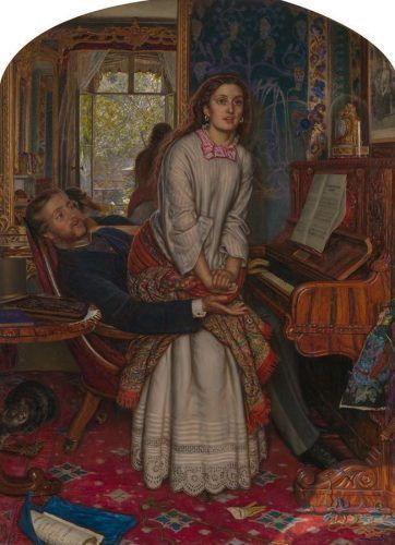 William Holman Hunt, The Awakening Conscience, 1853-1854, oil on canvas, 76.2 x 55.9 cm (30 x 22 in.) framed: 106 x 85.7 x 9.7 cm (41 3/4 x 33 3/4 x 3 13/16 in.), Tate. Presented by Sir Colin and Lady Anderson through the Friends of the Tate Gallery 1976.