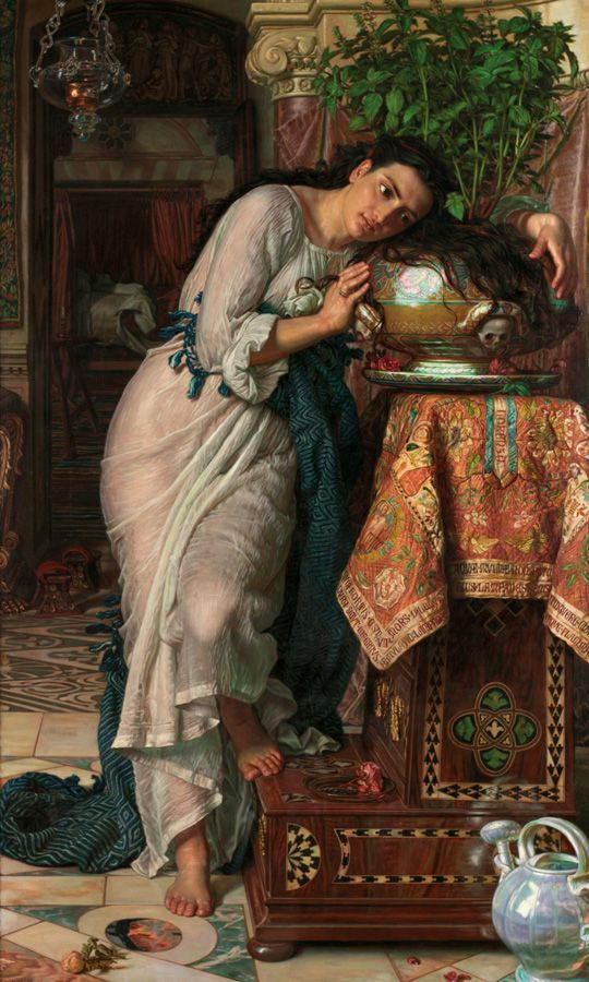 William Holman Hunt, Isabella and The Pot of Basil, 1866-1868, retouched 1886, oil on canvas, 186.7 x 115.6 cm (73 1/2 x 45 1/2 in.), Laing Art Gallery, Newcastle upon Tyne.