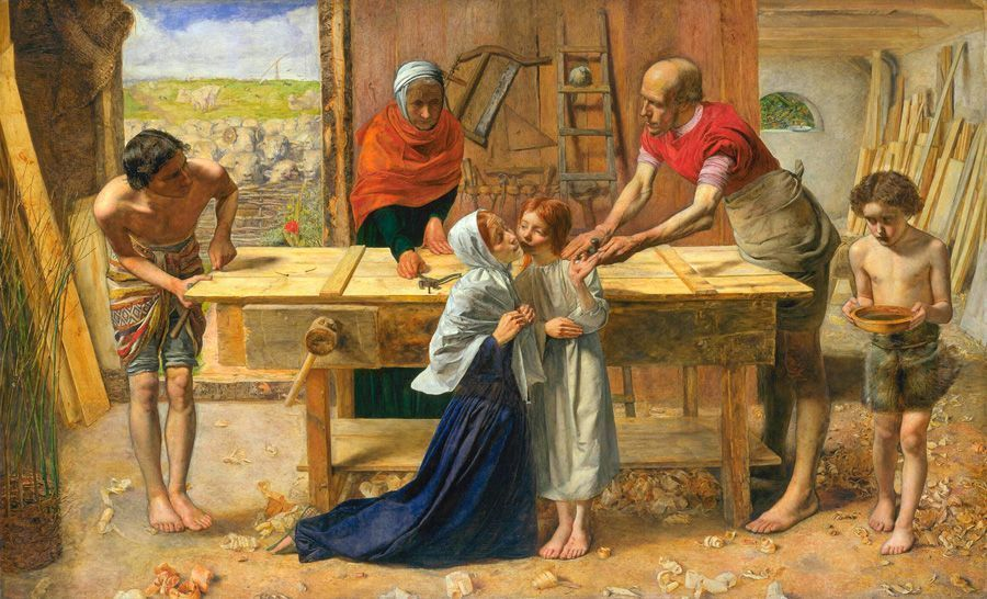 John Everett Millais, Christ in the House of His Parents (The Carpenter's Shop), 1849-1850, oil on canvas, 86.4 x 139.7 cm (34 x 55 in.)framed: 159 x 187.3 x 141 cm (62 5/8 x 73 3/4 x 55 1/2 in.), Tate. Purchased with assistance from the Art Fund and various subscribers 1921.