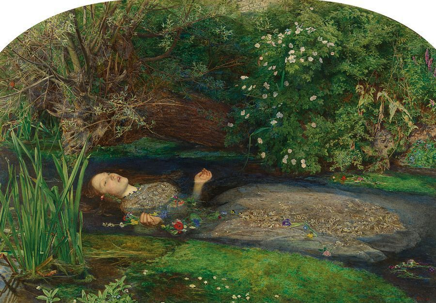 John Everett Millais, Ophelia, 1851-1852, oil on canvas, 76.2 x 111.8 cm (30 x 44 in.), Tate. Presented by Sir Henry Tate 1894.