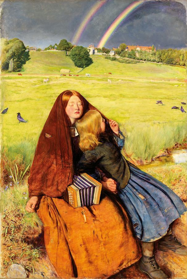 John Everett Millais, The Blind Girl, 1856, oil on canvas, 80.8 x 53.4 cm (31 13/16 x 21 in.)framed: 111 x 84.5 x 10 cm (43 11/16 x 33 1/4 x 3 15/16 in.), Birmingham Museums and Art Gallery. Presented by the Rt Hon William Kendrick, 1892.