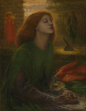 Dante Gabriel Rossetti, Beata Beatrix, c. 1864-1870, oil on canvas, 86.4 x 66 cm (34 x 26 in.), Tate. Presented by Georgiana, Baroness Mount-Temple in memory of her husband, Francis, Baron Mount-Temple 1889.