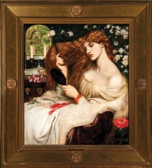 Dante Gabriel Rossetti, Lady Lilith, 1866–1868, Öl auf Leinwand, 96.5 x 85.1 cm, gerahmt: 134.6 x 121.9 x 7 cm, Delaware Art Museum, Samuel and Mary R. Bancroft Memorial, 1935.