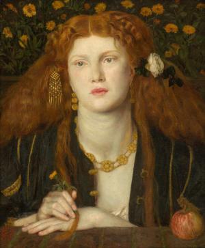 Dante Gabriel Rossetti, Bocca Baciata, 1859, oil on panel, 32.1 x 27 cm (12 5/8 x 10 5/8 in.), Museum of Fine Arts, Boston, Gift of James Lawrence.