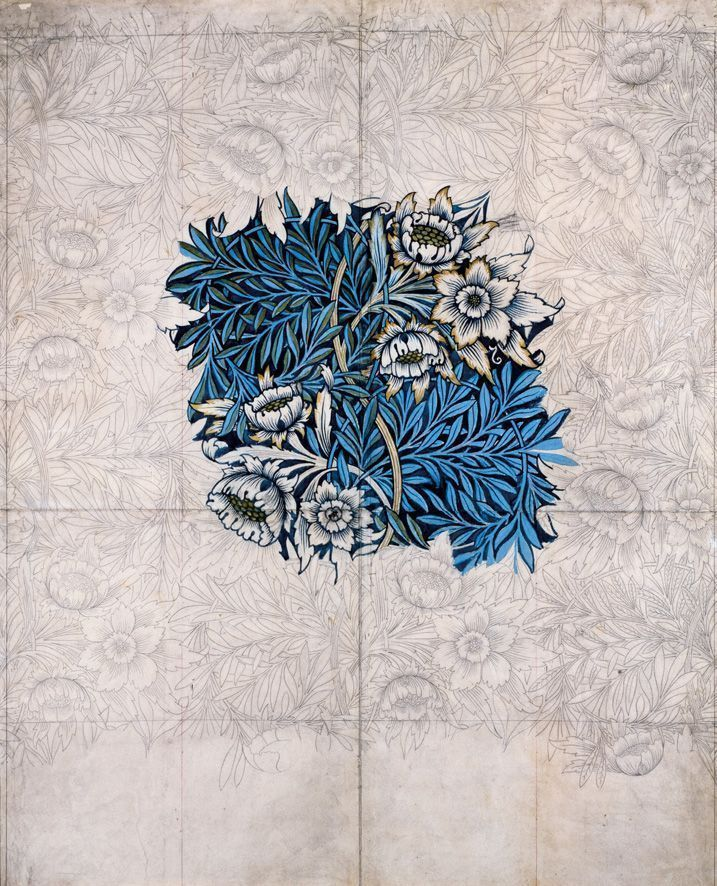 William Morris, Design for Tulip and Willow printed textile, 1873-1875, pencil, watercolor, and bodycolor, 114.3 x 94 cm (45 x 37 in.)framed: 120.3 x 100.6 x 3.3 cm (47 3/8 x 39 5/8 x 1 5/16 in.), Birmingham Museums and Art Gallery. Purchased from Morris & Co. through the Friends of BMAG, 1940.