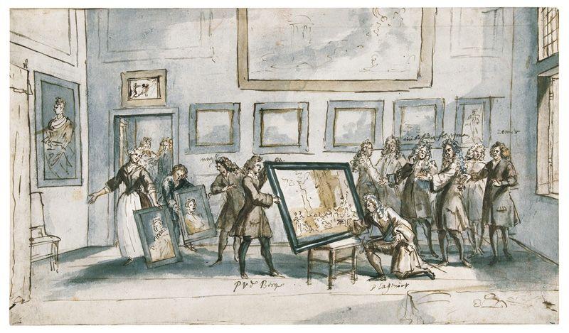 Pieter van den Berge, Besuch Prinz Eugens beim Kunsthändler Zomer in Amsterdam, keine Datierung, Feder in Braun, laviert auf Papier, 23,6 x 40,8 cm, Rijksmuseum, Amsterdam © Rijksmuseum, Amsterdam.