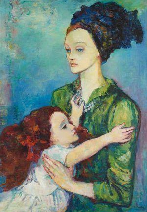 Viktor Tischler, Mutter und Tochter, 1920er-/1930er-Jahre, Öl auf Leinwand, 79,2 x 30 x 1,5 cm (Privatbesitz Linz, Foto: Reinhard Haider).