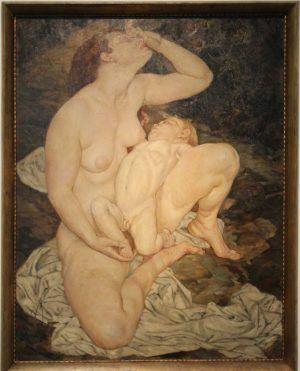 Arthur Brusenbauch, Klagende Mutter mit Kind, 1919, Öl auf Leinwand, 102 x 79 cm (Österreichische Galerie Belvedere, Schenkung Hans Dichand), Foto: Alexandra Matzner.