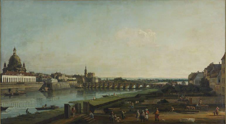 Bernardo Bellotto, Dresden vom rechten Elbufer oberhalb der Augustusbrücke, 1747, Öl auf Leinwand, 132 x 236 cm © Gemäldegalerie Alte Meister, Staatliche Kunstsammlungen Dresden.