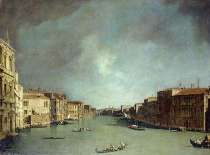 Giovanni Antonio Canal, genannt Canaletto, Der Canal Grande in Venedig nahe der Rialtobrücke nach Norden, 1725-1726, Öl auf Lw, 148,5 x 195,9 cm (© Gemäldegalerie Alte Meister, Staatliche Kunstsammlungen Dresden)