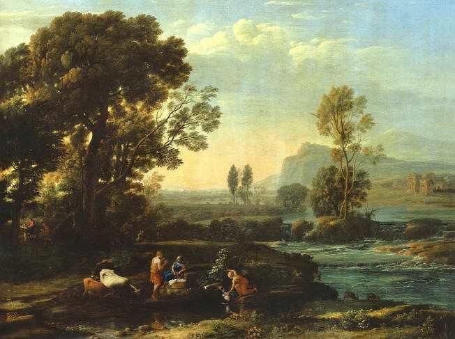 Claude Lorrain (Claude Gellée), Landschaft mit der Flucht nach Ägypten, 1647, Öl auf Leinwand, 102 x 134 cm © Gemäldegalerie Alte Meister, Staatliche Kunstsammlungen.