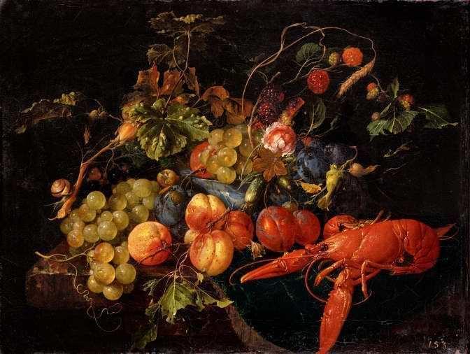 Cornelis de Heem, Ein Hummer, Früchte und Blumen, undatiert, Öl auf Leinwand, 40 x 52,5 cm © Gemäldegalerie Alte Meister, Staatliche Kunstsammlungen Dresden.