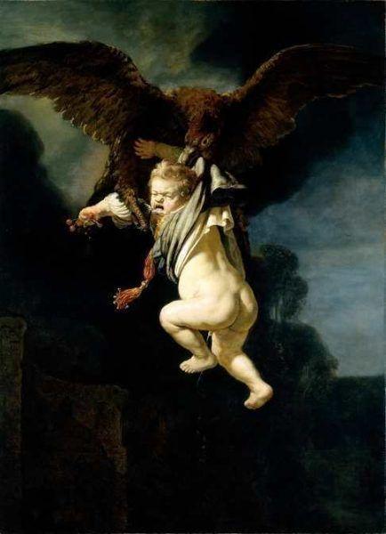 Rembrandt, Ganymed in den Fängen des Adlers, 1635, Öl auf Leinwand, 177 x 129 cm (Gemäldegalerie Alte Meister, Gal. Nr. 1558, Foto: Elke Estel/ Hans-Peter Klut)