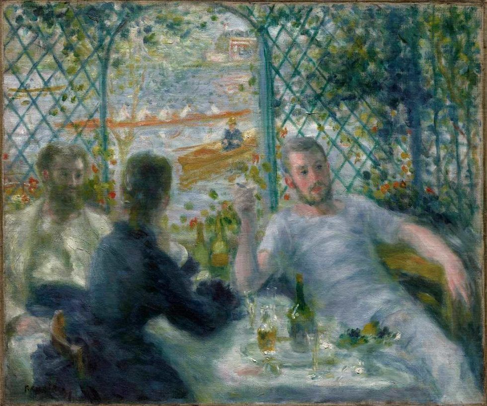 Pierre-Auguste Renoir, Mittagessen im Restaurant Fournaise (Mittagessen der Ruderer), 1875, Öl auf Leinwand, 55 × 65.9 cm (Art Institute of Chicago, Collection Potter Palmer)