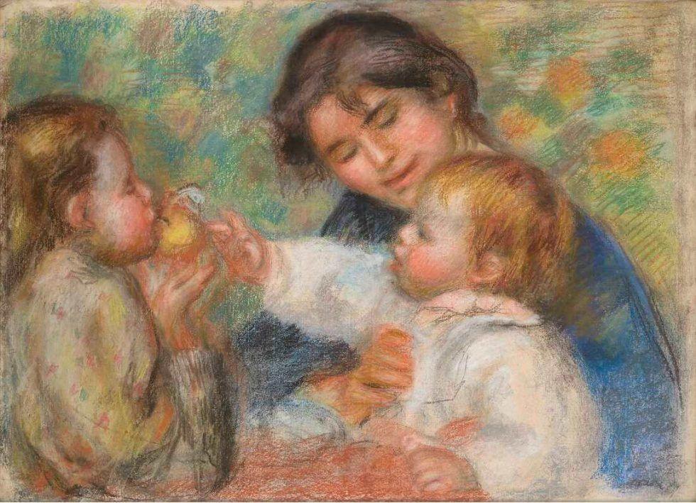 Pierre-Auguste Renoir, Kind mit einem Apfel (Gabrielle, Jean Renoir und ein kleines Mädchen), um 1895/96, Pastell auf Papier, 56 × 76 cm (Madame Léone Cettolin Dauberville D2486)