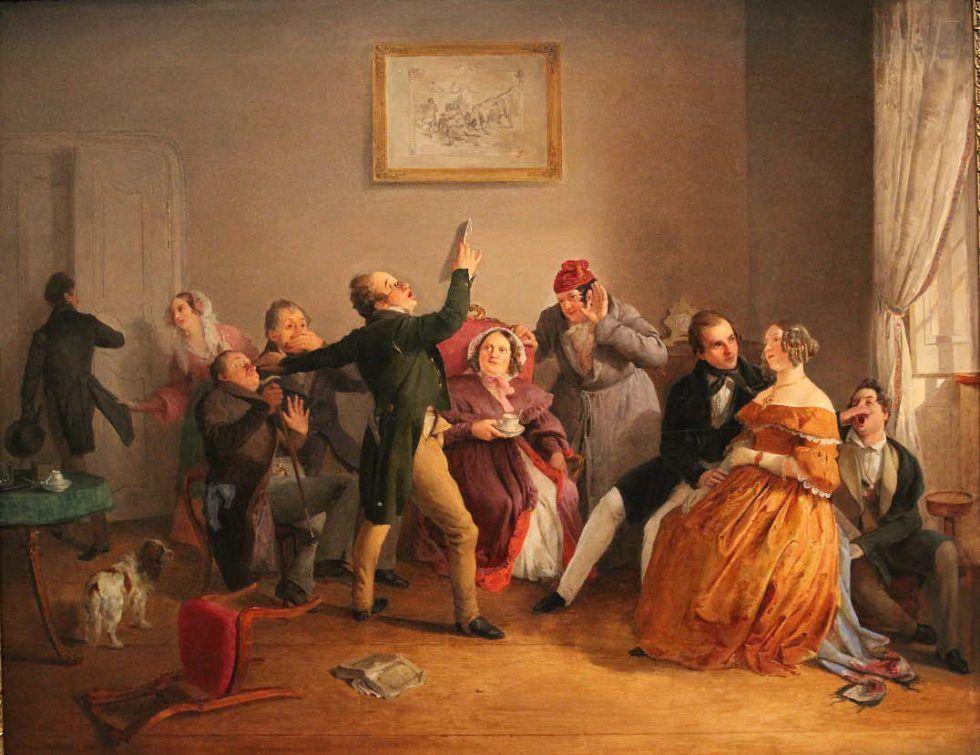Eduard Ritter, Der Deklamator, 1840, Öl auf Holz, 58 × 73,5 cm, Bez. u. l.: Eduard Ritter 1840 (Dr. Rudolf Schuster)