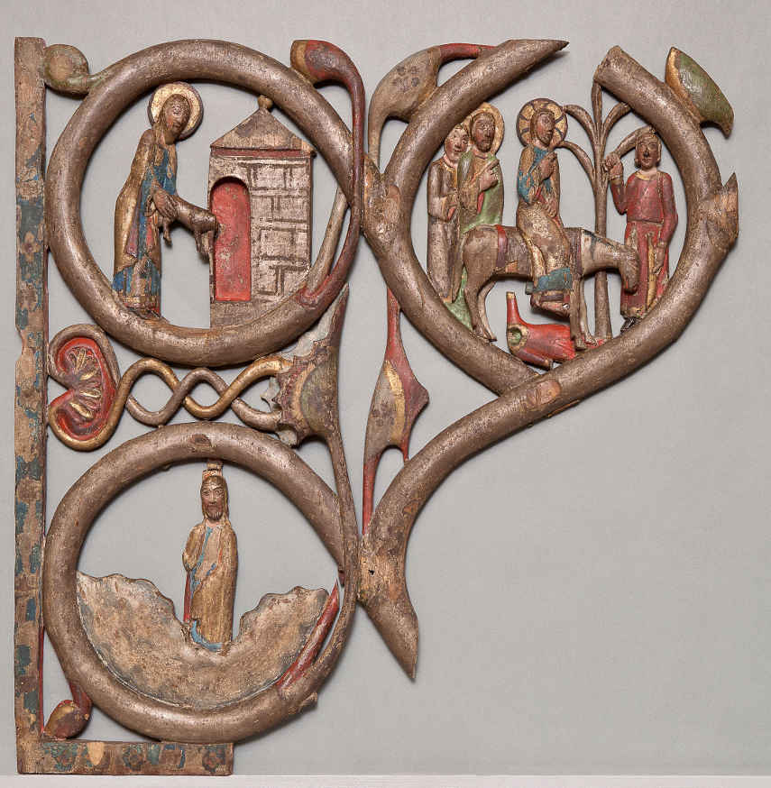Reliefs vom rechten Flügel des Gurker Westportals, Fragment eines typologischen Zyklus, unteres Kompartiment mit Einzug Jesu in Jerusalem © BDA (P. Laubenstein).