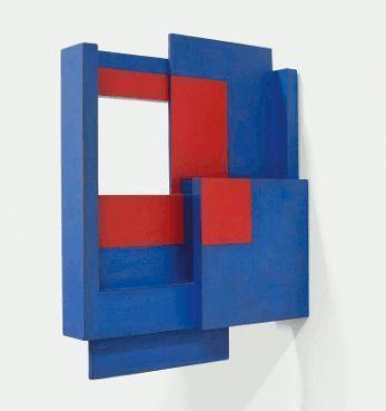 Roswitha Ennemoser, blue/red box IX, 1995, Ölgrundierung auf Holz, 32 x 25 x 5 cm, Foto: Michael Wohlschlager © MUSA.