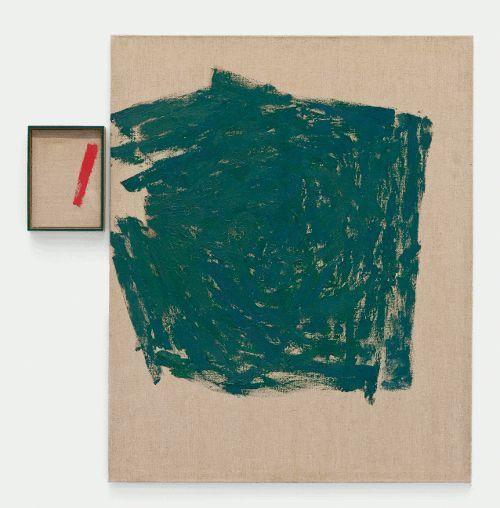 Roswitha Ennemoser, missing link 3, 1991, Öl auf Leinwand, 2-teilig, 37 x 27 cm, 160 x 130 cm, Foto: Michael Wohlschlager © MUSA.