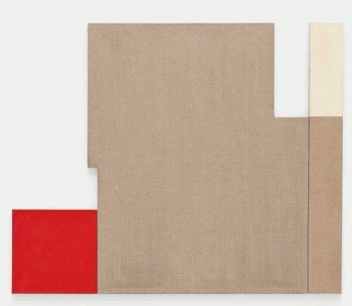 Roswitha Ennemoser, O.T., 1993, Leim/Ölgrundierung, Leinwand, Holz, 3-teilig, 50 x 50 cm, 160 x 130 cm, 160 x 20 cm, Foto: Michael Wohlschlager © MUSA.