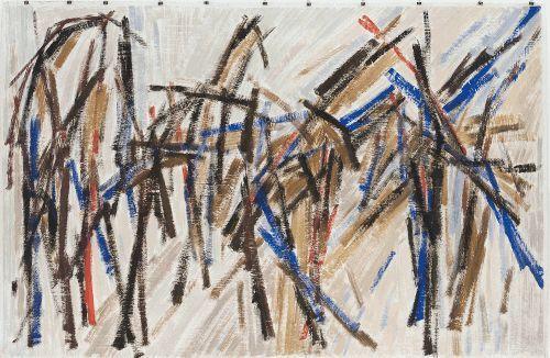 Roswitha Ennemoser, O.T.,1987, Dispersion, Eitempera auf Packpapier, 153 x 235 cm, Foto: Michael Wohlschlager © MUSA.