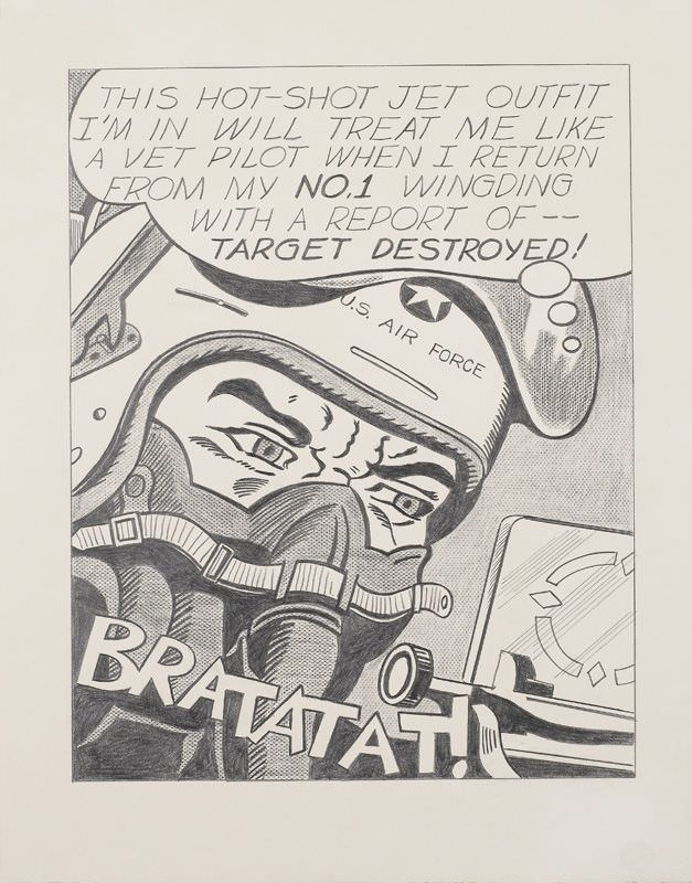 Roy Lichtenstein, Bratatat!, 1962, Frottage und Grafitstift, Minneapolis Institute of Arts, The Ethel Morrison Van Berlip Fund © Estate of Roy Lichtenstein.