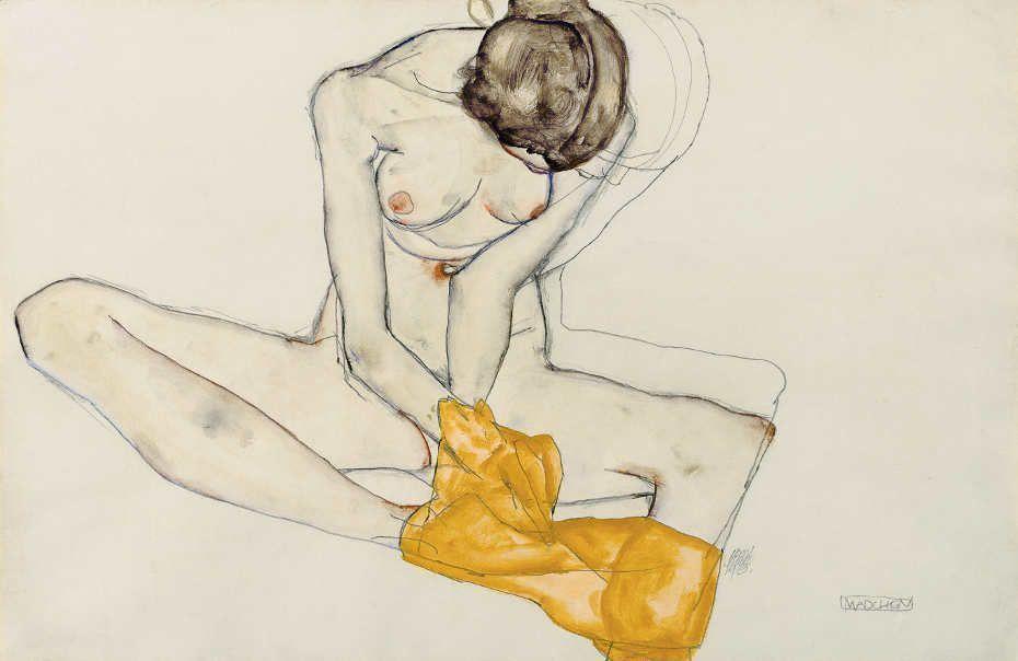 Egon Schiele, Mädchen (Akt Mit Gelbem Tuch), 1913, Bleistift, Gouache auf Papier, 31,2 × 47,8 cm (Leopold Museum, Wien, Inv. 2381)