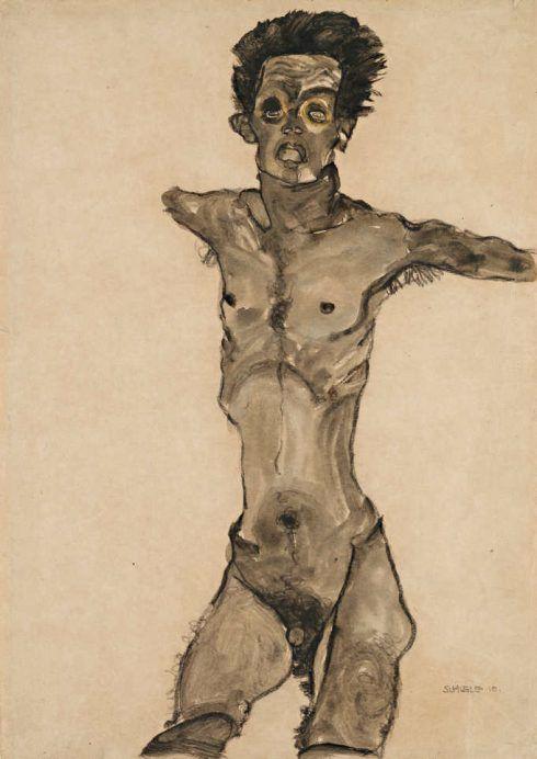 Egon Schiele, Selbstakt in Grau mit offenem Mund, 1910, Schwarze Kreide, Gouache auf Papier, 44,8 × 32,1 cm (Leopold Museum, Wien, Inv. 1460)