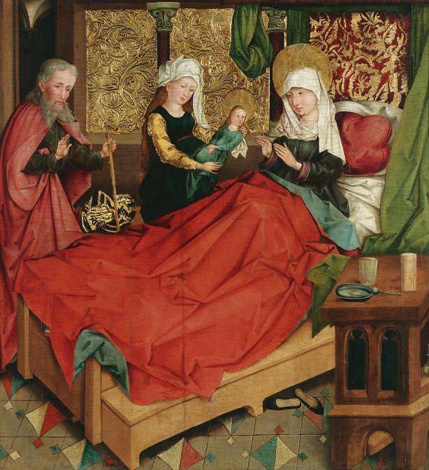 Meister der Divisio Apostolorum, Geburt Mariens, um 1490/95, Malerei auf Fichtenholz, 78 x 73,5 cm © Belvedere, Wien.