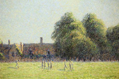 Camille Pissarro, Hampton Court Green, Detail, 1891, Öl auf Leinwand, 54,3 × 73 cm (National Gallery of Art, Washington – Ailsa Mellon Bruce Collection)